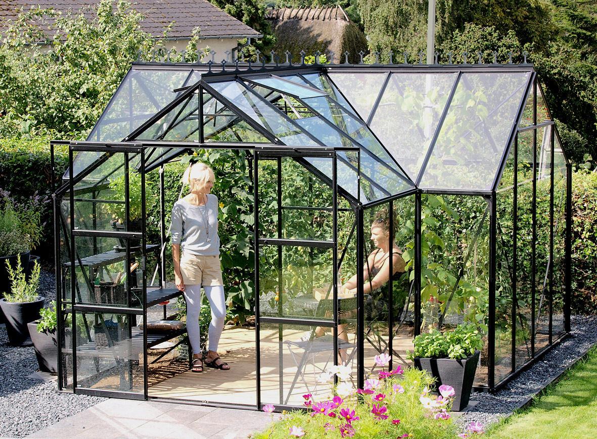 pergart gew chshaus sirius 13qm in alu gr n und schwarz glas inkl fundament balkon garten shop. Black Bedroom Furniture Sets. Home Design Ideas