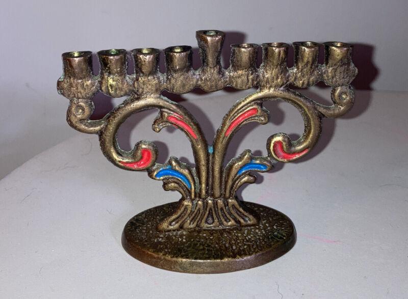 Vintage Brass Enamel Jewish Hanukkah Mini Menorah Judaica HEN HOLON Israel