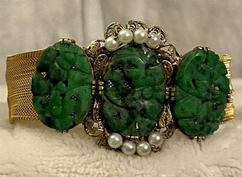 "Filigree Gilded Silver Carved Jade & Seed Pearls Slide Mesh Bracelet 7"""
