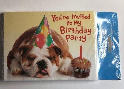 Children's Birthday Invitations Envelopes 8 English Bulldog Puppy Cupcake Party - Cupcake Birthday Invitations