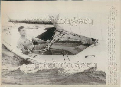 1974 Press Photo Nelson Rockefeller Sailing in His Yacht 1950s