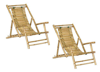 Bamboo Beach/Patio Lounge Chair/Recliner - Set of  2