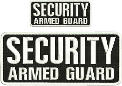 Security Armed Guard embroidery patch 4X10 and 2x5 hook all white