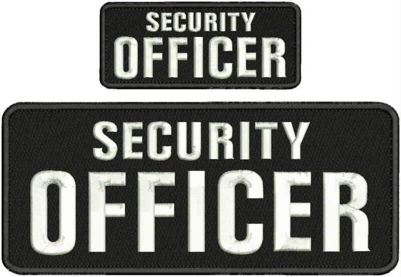 SECURITY OFFICER EMBRIDERY PATCH 4X10 AND 2X5 hook WHITTE LETTERS