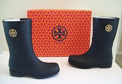 Tory Burch Maureen Rainboots Black Size 9 New In Box Authentic!
