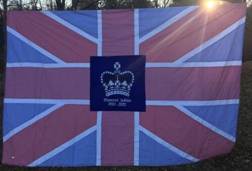 Diamond Jubilee UNION JACK FLAG VTG British Queen Elizabeth Panel Stitch UK