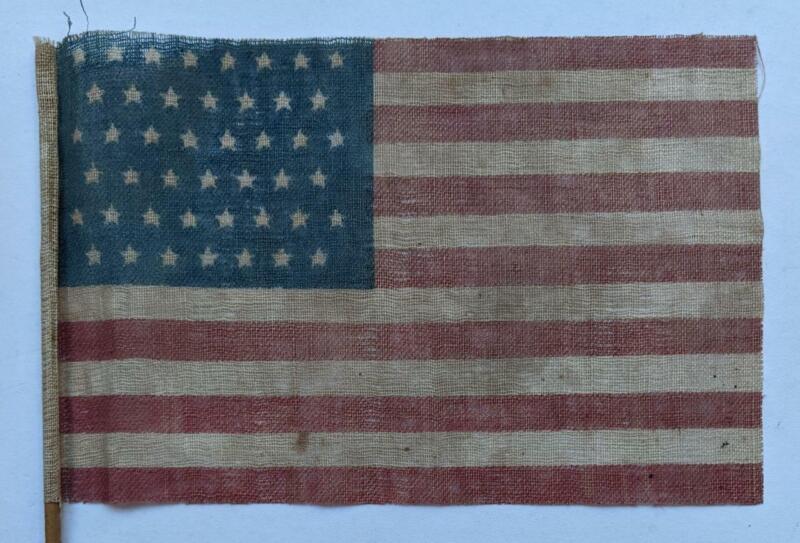 ca. 1896 OLD VINTAGE 45 STAR US AMERICAN PARADE FLAG w STICK PRINTED COTTON UTAH
