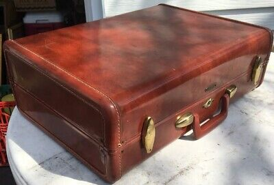 Vintage Samsonite Red Brown Hard Shell Suitcase Brass Clasp Travel Bag