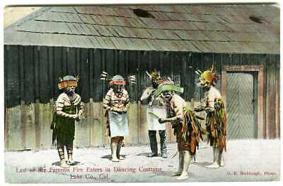 c.1910 INDIAN FIRE EATERS in DANCING COSTUMES,LAKE COUNTY CALIFORNIA,CA~POSTCARD