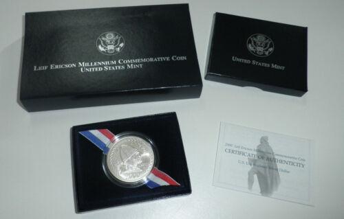 2000 US Mint LEIF ERICSON UNC Silver Dollar OGP and COA