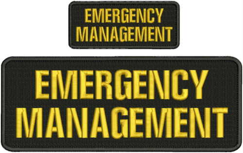 emergency management embroidery patch 4x10 & 2x5 sew on on back blk/gold