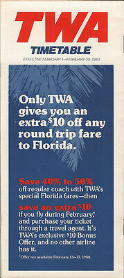 TWA system timetable 2/1/80 [308TW] Buy 2 Get 1 Free