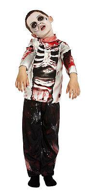 Jungen Mädchen Kinder Zombie Skelett Kostüm Halloween Outfit Neu Ag 4-12
