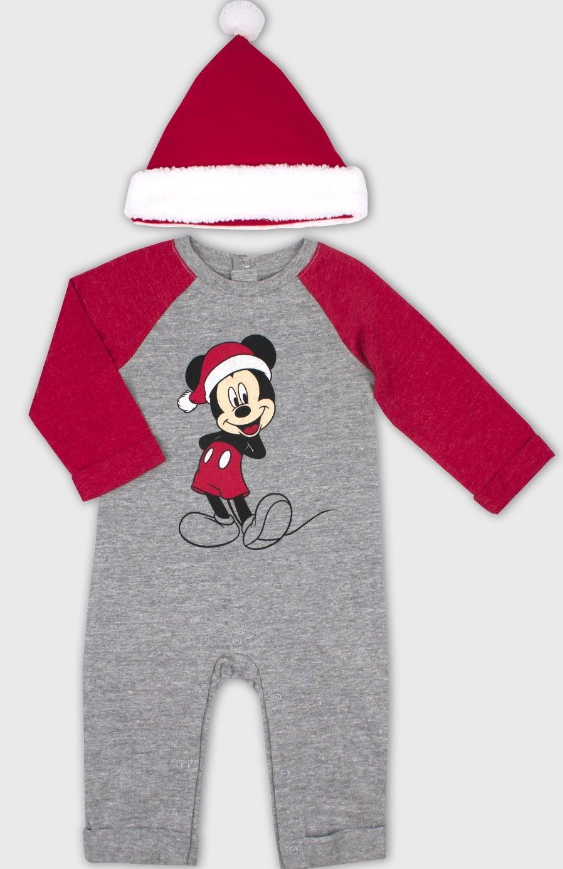 DISNEY BABY Mickey Mouse Santa Romper With Santa Hat Christm