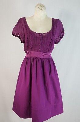 - Kimchi Blue Baby Doll Dress SZ M Satin Self Tie Belt Trim Embellished Party CUTE