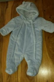 Pale blue soft baby snow suit 0-3 months