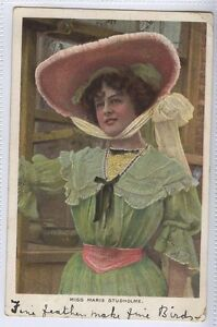 AF77-Actress-Miss-Marie-Studholme-Large-Hat-1906-Used