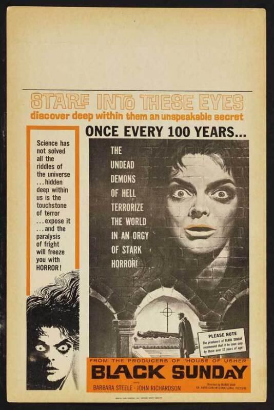 BLACK SUNDAY Movie POSTER 27x40 B Barbara Steele John Richardson Ivo Garrani