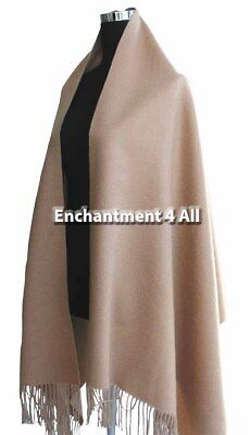 Large 100% 4-Ply Pure Cashmere Shawl Wrap, Camel