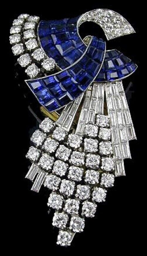 925 Sterling Silver Blue Princess CZ Invisible Set White Round Baguette Brooch