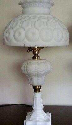 VINTAGE L.G. WRIGHT MOON & STARS  MILK GLASS BEADED DRAPE LAMP 25,5