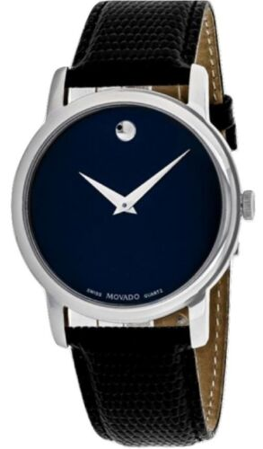 $195.00 - Movado Museum 2100007 Blue Dial Black Leather Band Men's Watch