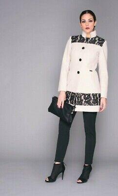Lisa Kott Cappotto donna elegante con pizzo 805 Beige fianchi panno invernale