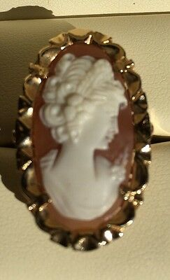Hand Carved Italian Shell Cameo Set In 14k Gold. Filigree Women's Ring Size 7