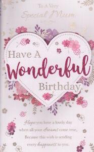 Mum Mother Happy Birthday Greeting Card Large Verse Insert Special Keepsake