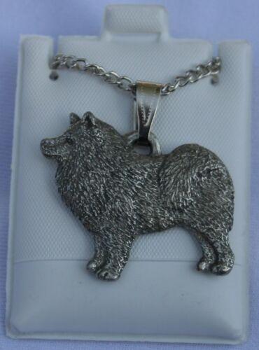 Samoyed Dog Harris Fine Pewter Pendant w Chain Necklace USA Made