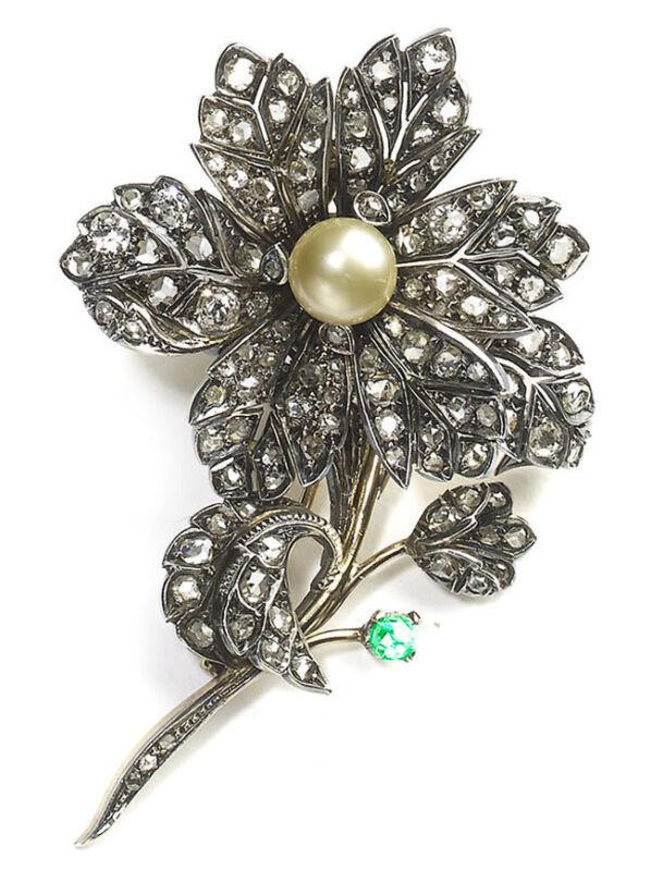 4.35ct ROSE CUT DIAMOND PEARL EMERALD VICTORIAN LOOK 925 SILVER BROOCH PIN