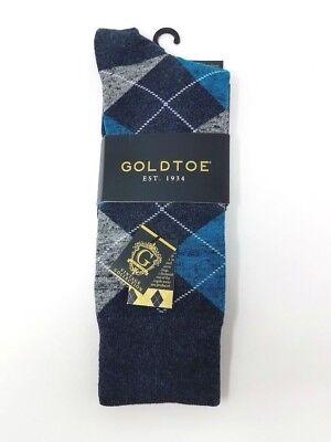 GOLD TOE Men's Argyle Premier Cotton Blend Dress Socks, Black, 10-12 ()