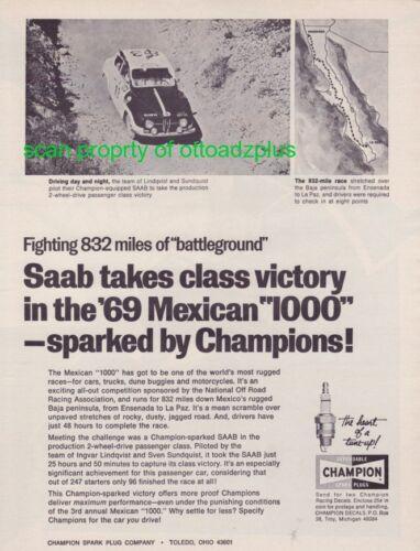 1969 Mexican 1000 - SAAB - Ingvar Lindqvist and Sven Sundquist - Champion plugs