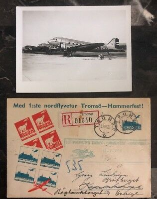1936 Tromso Norway First Flight cover FFC to Hammerfest Airplane Photo Enclosed