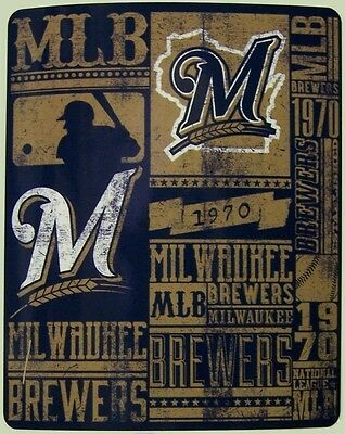 "Milwaukee Brewers Bedding - Blanket Fleece Throw MLB Milwaukee Brewers NEW 50""x60"" with protective sleeve"