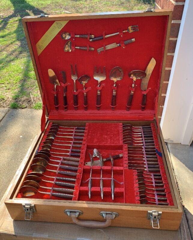 Vintage 104pc Thai Rosewood Handled Bronzeware Set - Yap Kui Kee Jewellers
