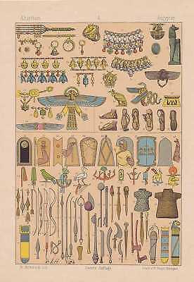 Ägypter Waffen Schmuck Schuhe  LITHOGRAPHIE von 1883