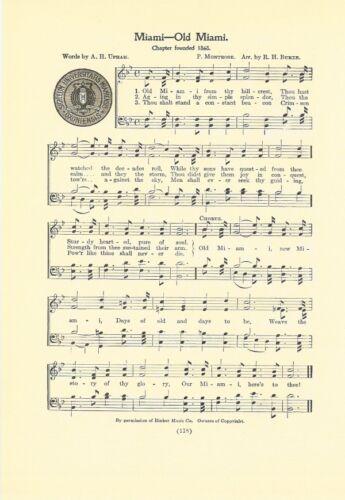 "MIAMI UNIVERSITY Original Vntg Song Sheet w/ School Seal c1937 ""Old Miami"" Ohio"