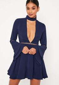 NEW WITH TAGS missguided navy flare sleeve ladder trim choker skater dress 12
