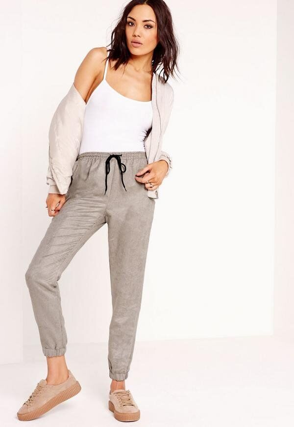MISSGUIDED FAUX SUEDE GREY LOUNG WEAR BOTTOMS 8 10 12 DRAWSTRING WAIST CHRISTMAS GIFT
