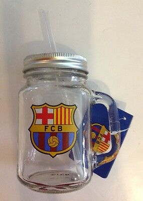 Barcelona Jar - Barcelona FC Mason Jar w/ Straw Glass Officially Licensed Product