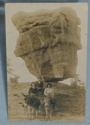 Antique RPPC Balanced Rock, Garden of the Gods, Colorado, REAL PHOTO