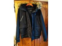 Winter jacket with furry hood size L men