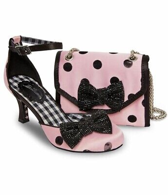 Dolly Ankle Strap Heels - Joe Browns Couture Dolly Shoes Bag Pink & Black Polka Dot Ankle Strap Heels 4-8