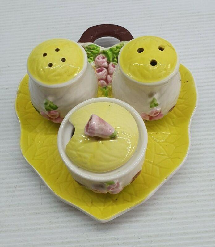 Floral Vintage retro Salt and pepper shakers set Japan trio on leaf yellow pink