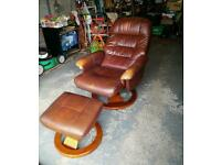 Leather chair and matching stool