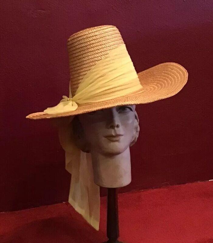 Vintage 40's 50's Straw Hat High Crown Wide Brim Raffia Happy Cappers  Novelty