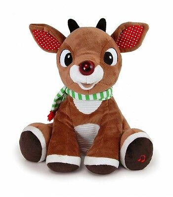"Rudolph 12"" Plush RUDOLPH THE CHRISTMAS REINDEER MUSICAL LIGHT UP ~NEW~"