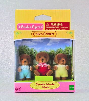 Sylvanian Families Calico Critters Chocolate Labrador Dog Triplets, used for sale  Shipping to India