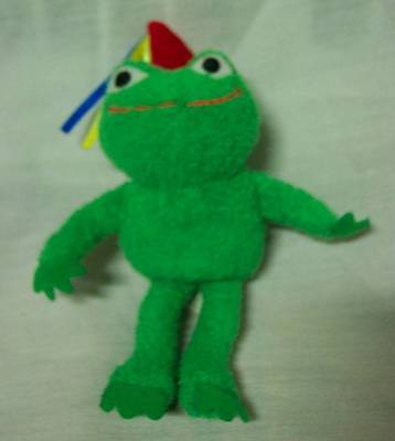 "Princess Soft Toys CUTE GREEN FROG W/ PARTY HAT 5"" Plush STUFFED ANIMAL Toy"